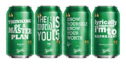 "Cans of Sprite will be emblazoned with inspirational quotes from hip-hop stars Drake, Nas, Rakim and Notorious BIG in a new campaign from the soda maker. The quotes include ""Know yourself, know your worth,"" from Drake's 2015 album and ""Cool 'cause I don't get upset,"" from Rakim's ""Microphone Fiend."""